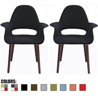2xhome Set of 2 Fabric Upholstered Accent Chair With Arms Dark Black Wood Colors Dining High Back Office Home Living Room Desk