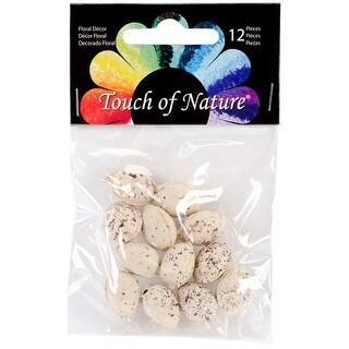 "Beige W/Brown Speckles - Plastic Bird Eggs .5"" 12/Pkg"