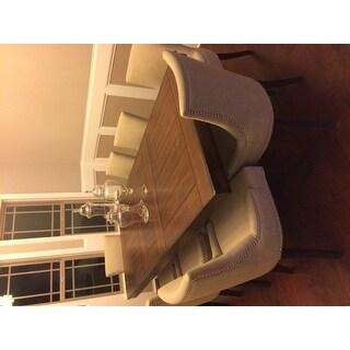 Abbyson Newport Ivory Fabric Nailhead Trim Dining Chair