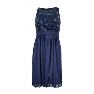 Adrianna Papell Women's Sequined Chiffon Dress - Midnight