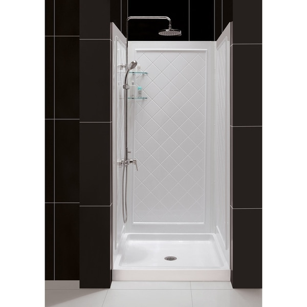 "DreamLine 32 in. D x 32 in. W x 76 3/4 in. H Single Threshold Shower Base and Acrylic Backwall Kit - 32"" x 32"". Opens flyout."