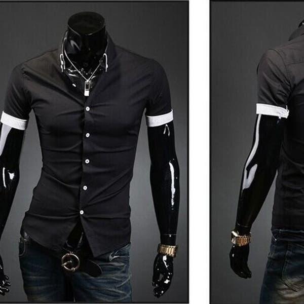 Mens Fashion Dress Shirts Plaid Slim Fit Short Sleeved Shirts Casual Short Sleeve Shirt Male Overstock 27194146