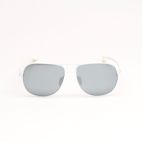 White Metal Sunglasses With Grey Lens