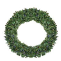 6' Pre-Lit Cashmere Mixed Pine Commerical Artificial Christmas Wreath - Multi LED Lights - green