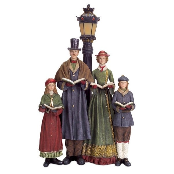 """20"""" LED Lighted Carolers with Lamp Post Table Top Christmas Decoration - multi"""