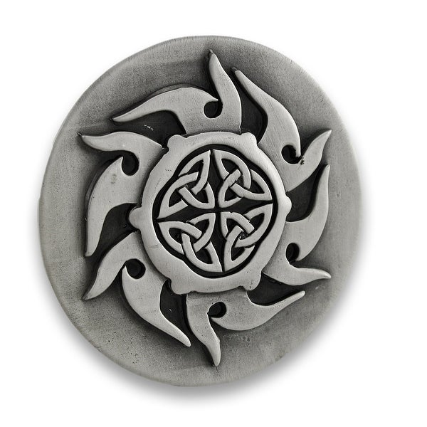 Pewter Finish Celtic Knotwork Sunburst Belt Buckle
