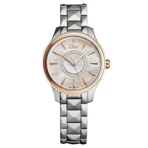 Christian Dior Women's CD1521I0M001 'Montaigne' Mother of Pearl Diamond Dial Rose Gold Bezel Swiss Quartz Watch