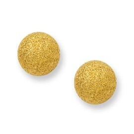 Stainless Steel Gold-plated Laser Cut 8mm Bead Post Earrings