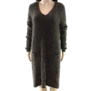 Hyfve Green Women's Size Small S Eyelash Knit V-Neck Sweater Dress