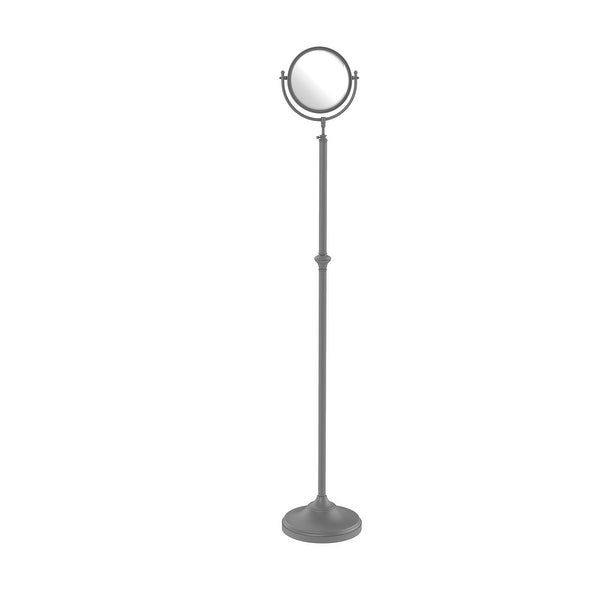 Allied Brass Adjustable Height Floor Standing Make-Up Mirror 8-in Diameter with 5X Magnification