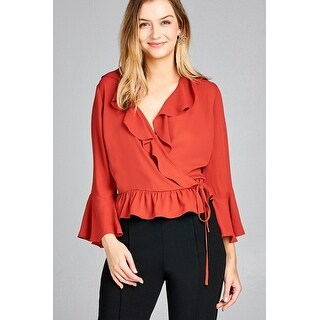 Ladies Fashion 3/4 Bell Sleeve Wrap W/Ruffle Side Tie Closure Flare Bottom Wool Dobby Woven Top - Size - L