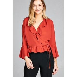 Ladies Fashion 3/4 Bell Sleeve Wrap W/Ruffle Side Tie Closure Flare Bottom Wool Dobby Woven Top - Size - S