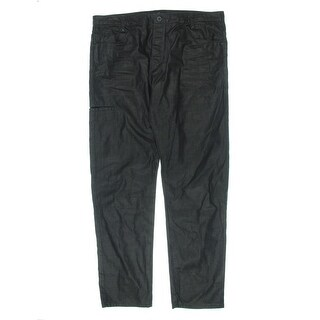 Calvin Klein Jeans Mens Raw Dark Wash Button Fly Tapered Leg Jeans
