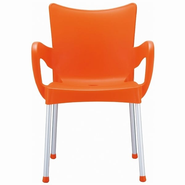 Romeo Stacking Dining Arm Chair [Set of 4] Finish: Orange