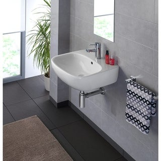 """Bissonnet Moda 50 Moda 19-11/16"""" Vitreous China Wall Mounted Bathroom Sink with Single Faucet Hole and Overflow - White"""