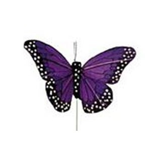 "Midwest Design Butterfly 4"" Feather Wire Purpl 1pc"