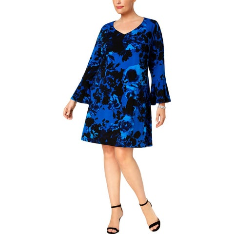 Connected Apparel Womens Plus Cocktail Dress Jersey Floral Print