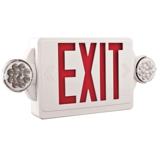Lithonia Lighting 186HU9 Indoor LED Lighted Exit Sign and Emergency Lights, Thermoplastic