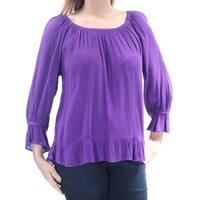 INC Womens Purple Bell Sleeve Jewel Neck Top  Size: L