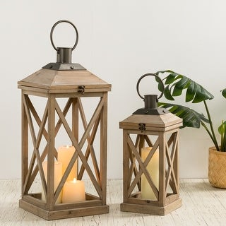 "Link to Glitzhome Set of 2 Modern Farmhouse Wooden Lantern - 24""+17"" Similar Items in Outdoor Decor"