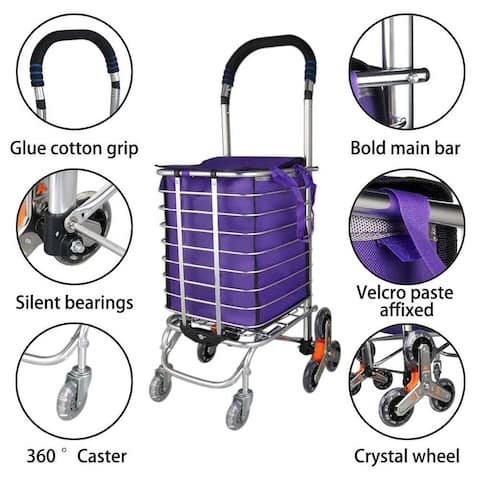 Stair Climber Foldable Shopping Cart 15.6 x 20.5 x 36.2 inches - Eight-wheel Bold - 15.6 x 20.5 x 36.2 inches