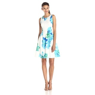 Calvin Klein Sleeveless Floral Printed Fit & Flare Dress - 4