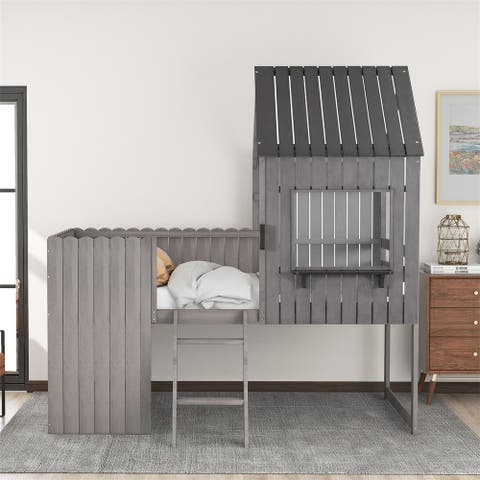 Merax Twin size Loft Bed Wood Bed with Roof, Window, Guardrail, Ladder
