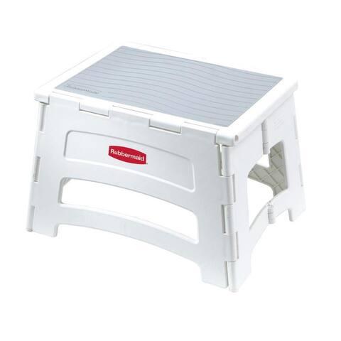 Rubbermaid RM-PL1W Single-Step Plastic Folding Stool, 300 Lb Capacity