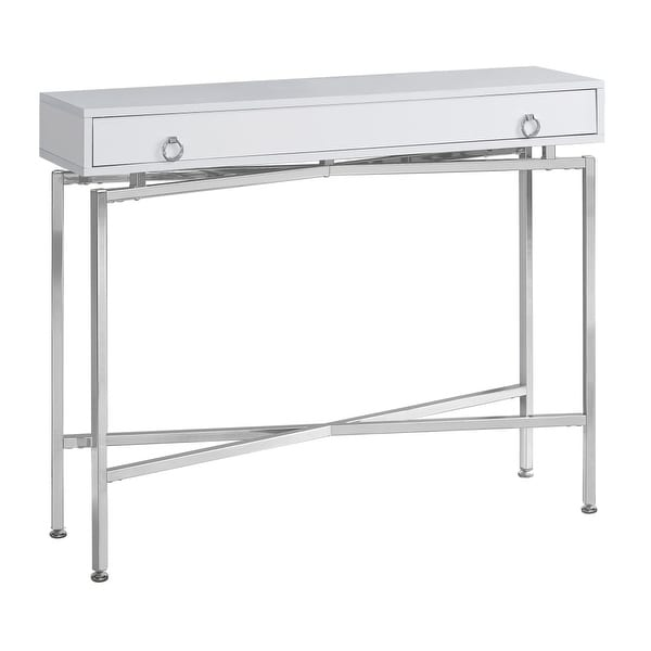 Monarch Specialties I 2443 42 Inch Wide Wood Top Metal Hall Console Table White