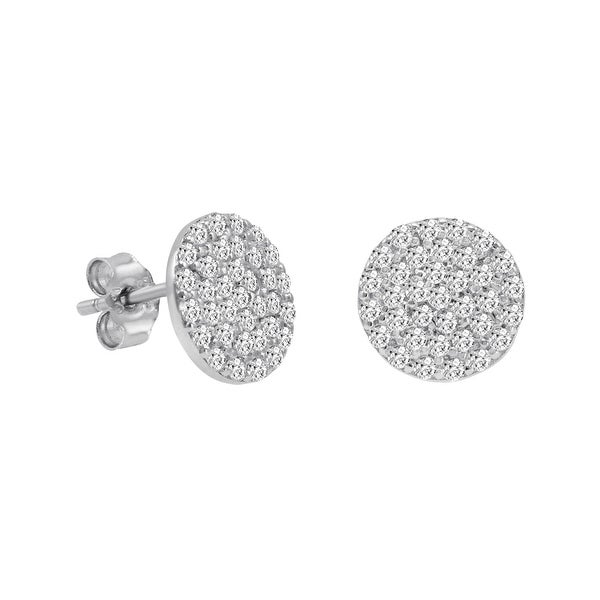 Amanda Rose Cubic Zirconia Round Stud Earrings in Sterling Silver