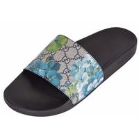 Gucci Men's 407345 GG Supreme Canvas GG Blooms Slides Sandals Shoes 15