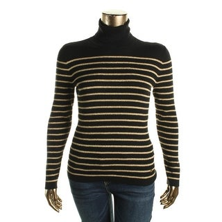Lauren Ralph Lauren Womens Pullover Sweater Striped Metallic