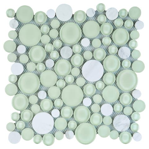 TileGen. Cloud Bubble Random Sized Mixed Material Mosaic Tile in Green/White Wall Tile (10 sheets/7.7sqft.)