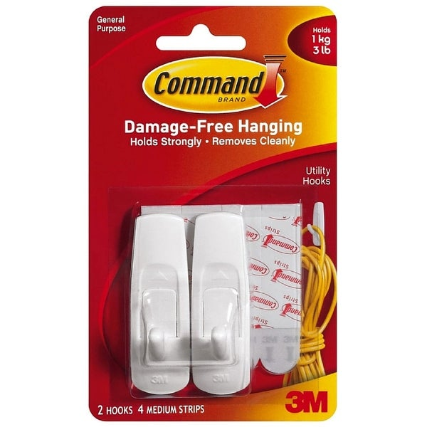 Command Adhesive Medium Utility Hook, White 2 ea