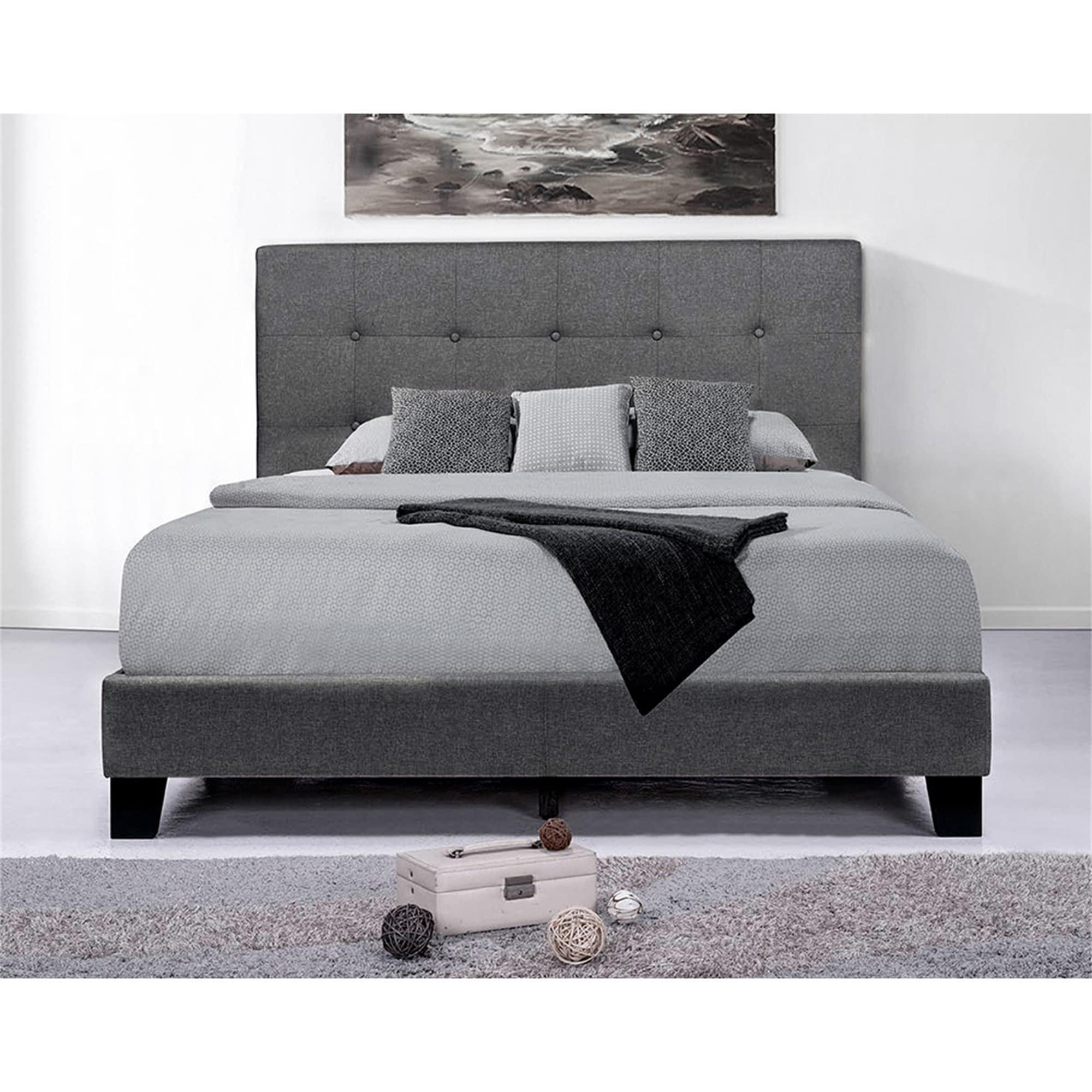 Picture of: Upholstered Platform Bed Frame Mattress Foundation Dark Grey Overstock 31769502
