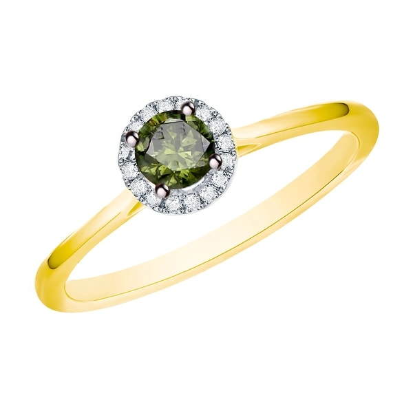 Prism Jewel 0.37 Ctw Classic Green Color Diamond with Diamond Engagement Halo Ring