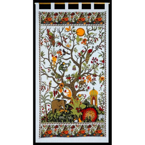 Tab Top Cotton Curtain White Tree of Life Drape Valence 44 x 88 inches