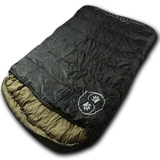 Wolftraders TwoWolves -30 Degree Fahrenheit 2-Person Premium Comfort Nylon Sleeping Bag, Black/Tan