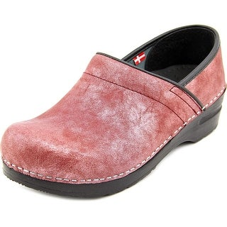 Sanita Margo Women Round Toe Leather Burgundy Clogs