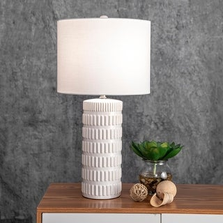 """Link to nuLOOM 25"""" Tangela Ridged Ceramic Linen Shade Table Lamp Similar Items in Table Lamps"""