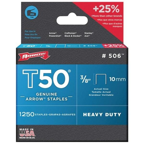 "Arrow Fastener 50624 T50(R) 3/8"" Staples, 1,250 Staples Per Pk"
