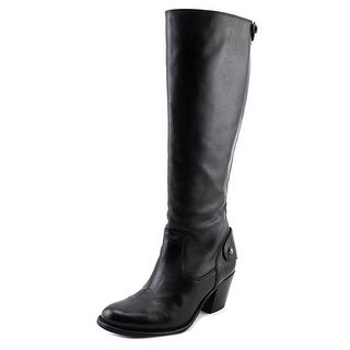 Frye Jackie Zip Tall Women Round Toe Leather Black Knee High Boot