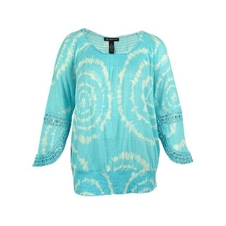 INC International Concepts Women's Tie-Dye Linen Peasant Top