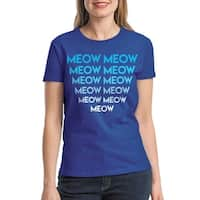 Meow Cat Lovers Funny Women's Royal Blue T-shirt