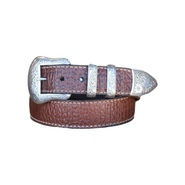 Vintage Bison Western Belt Mens Wild Bill II Leather Peanut