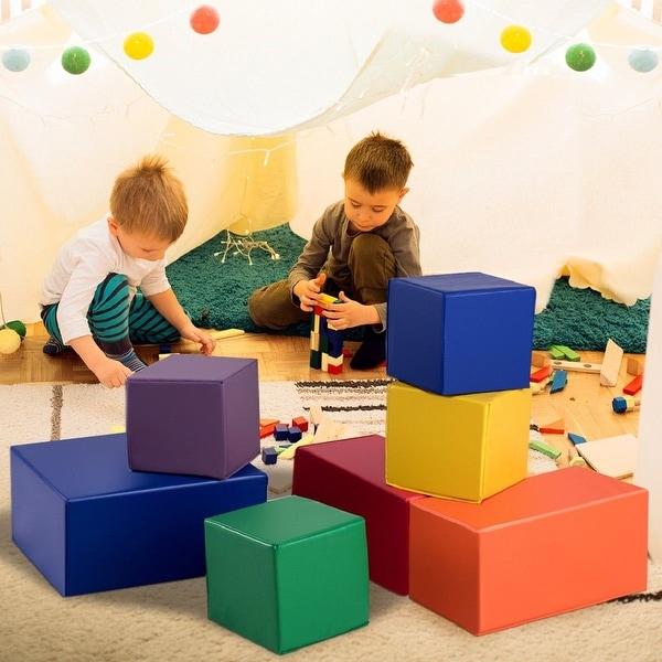 Gymax 7-Piece Set PU Foam Big Building Blocks Colorful Soft Blocks