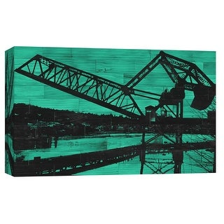 """PTM Images 9-102155  PTM Canvas Collection 8"""" x 10"""" - """"Ballard Train Trestle - Green and Black"""" Giclee Cityscapes Art Print on"""