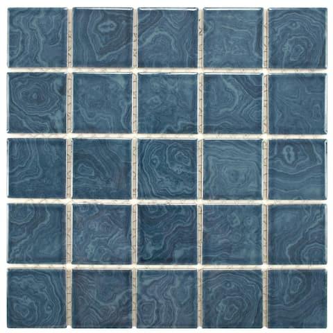 "SomerTile Resort Beach Blue 12"" x 12"" Porcelain Mosaic Tile"