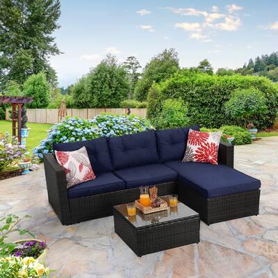 PHI VILLA Rattan 3-Piece Patio Sectional Sofa Set Conversation Set