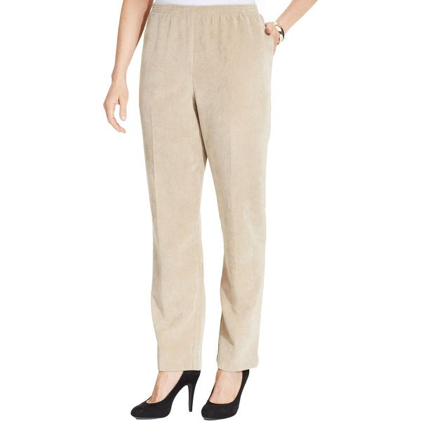 Alfred Dunner Womens Petites Corduroy Pants Solid Smocked